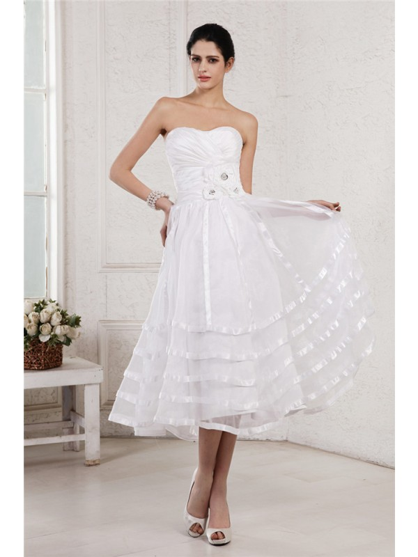 Visual Moment Princess Style Strapless Hand-Made Flower Pleats Short Organza Taffeta Wedding Dresses