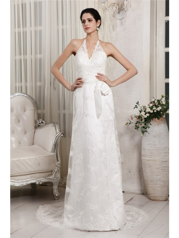 Yours Truly Sheath Style V-neck Lace Applique Long Net Wedding Dresses