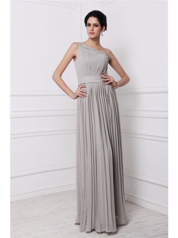 Limitless Looks Sheath Style One-Shoulder Beading Pleats Long Chiffon Dresses