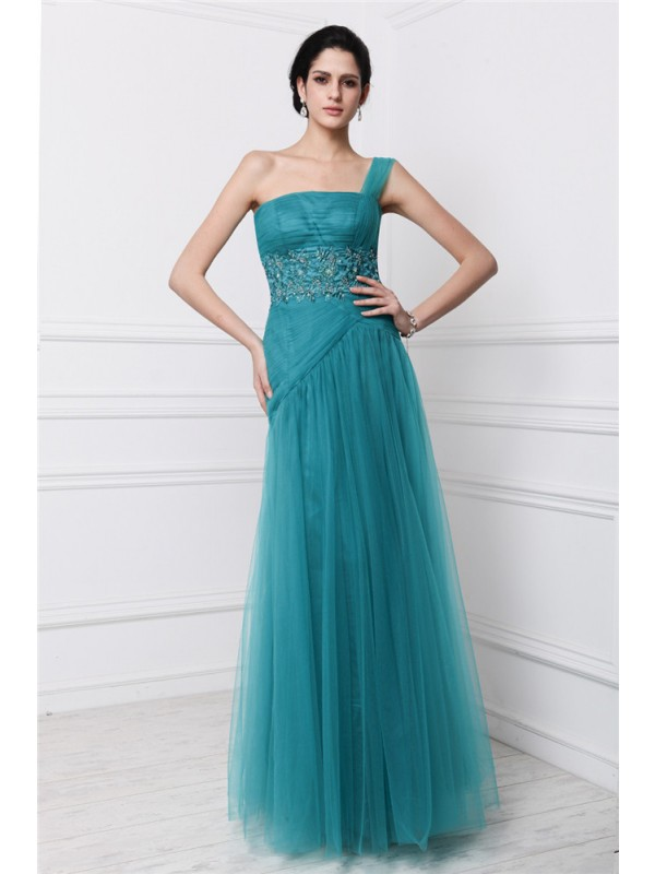 Desired Spotlight Sheath Style One-Shoulder Beading Applique Long Net Dresses