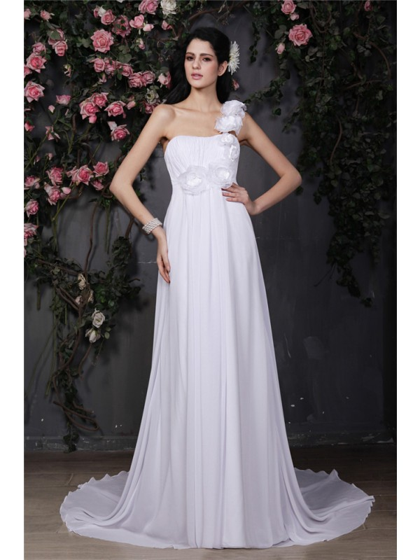 Easily Adored Princess Style One-Shoulder Hand-Made Flower Ruffles Long Chiffon Wedding Dresses