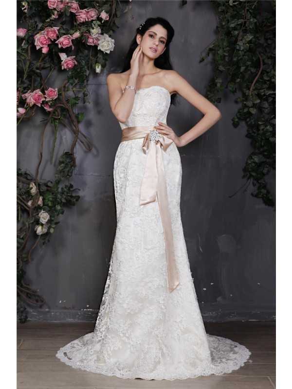 Naturally Chic Sheath Style Strapless Sash Long Lace Wedding Dresses
