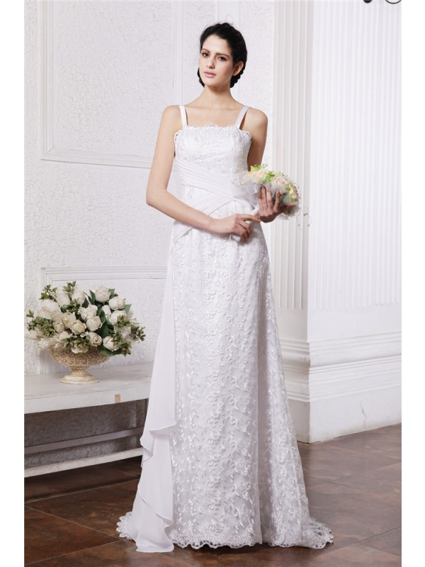 Befits Your Brilliance Sheath Style Square Neck Ruffles Ruched Long Chiffon Net Wedding Dresses