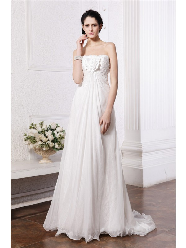 Glitz the Spot Princess Style Strapless Beading Hand-Made Flower Long Chiffon Wedding Dresses
