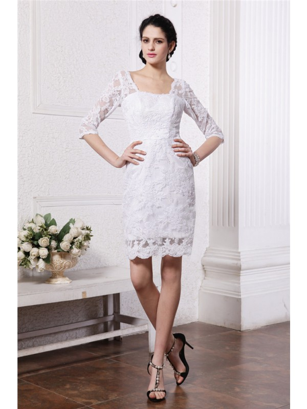 Intuitive Impact Sheath Style Half Sleeves Bateau Short Lace Wedding Dresses
