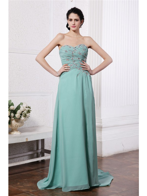 Cordially Delighted Sheath Style Sweetheart Rhinestone Beading Long Chiffon Dresses