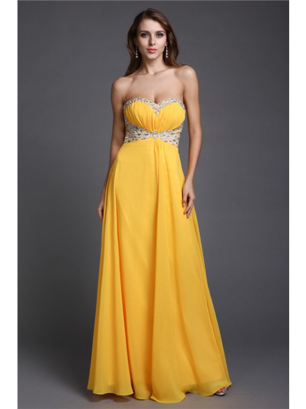 Pretty Looks Princess Style Sweetheart Beading Long Chiffon Dresses