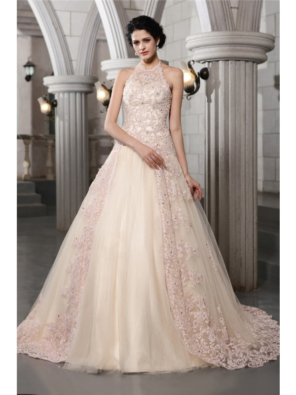 Time to Shine Princess Style High Neck Beading Applique Long Net Wedding Dresses