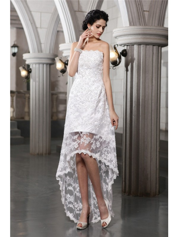 Efflorescent Dreams Sheath Style Strapless Beading High Low Lace Wedding Dresses