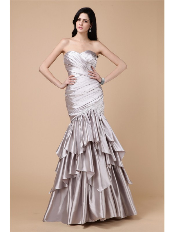 Dancing Queen Mermaid Style Strapless Pleats Long Elastic Woven Satin Dresses