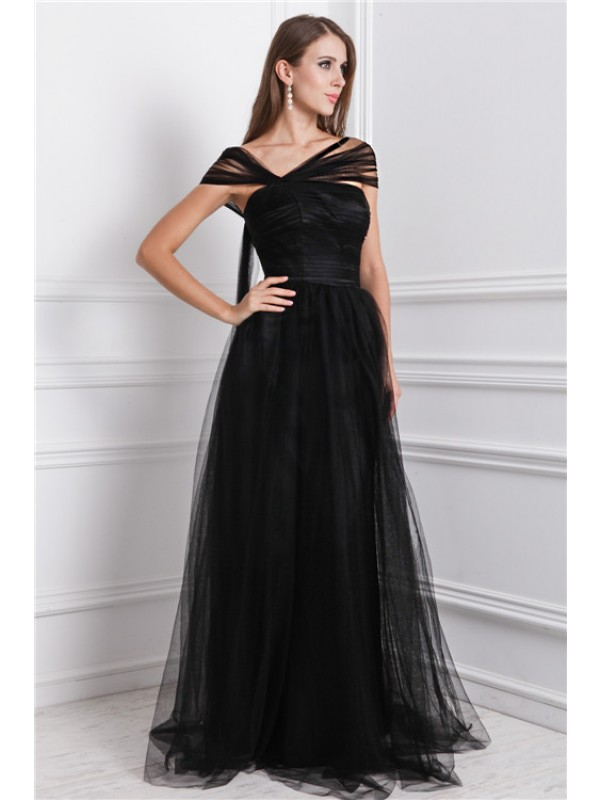 Pleased to be Me Princess Style Bateau Ruffles Long Net Dresses