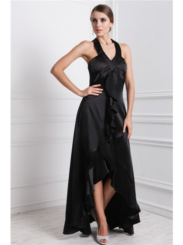 Absolute Lovely Princess Style Bateau Ruffles High Low Silk like Satin Dresses