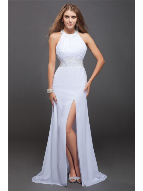 Confident Option Sheath Style Jewel Beading Ruffles Long Chiffon Dresses