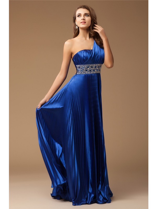 Limitless Looks Sheath Style One-Shoulder Long Beading Elastic Woven Satin Dresses