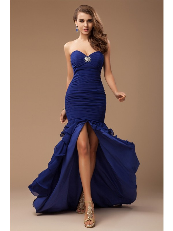Desired Spotlight Mermaid Style Sweetheart Ruffles Beading Long Chiffon Dresses