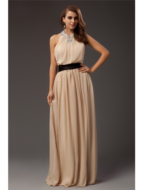 Comfortably Chic Sheath Style Jewel Beading Long Chiffon Dresses