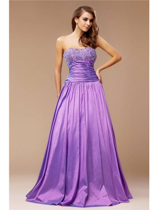 Sweet Sensation Princess Style Strapless Beading Long Taffeta Dresses