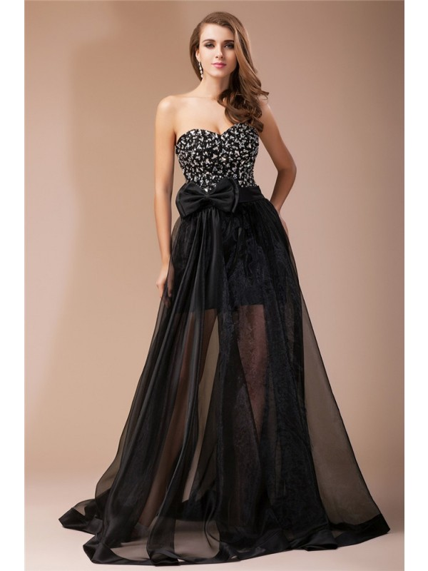 Creative Courage Sheath Style Sweetheart Beading Long Organza Elastic Woven Satin Dresses