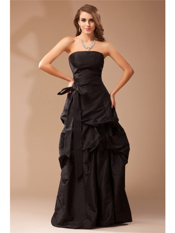 Festive Self Princess Style Strapless Ruffles Long Taffeta Dresses