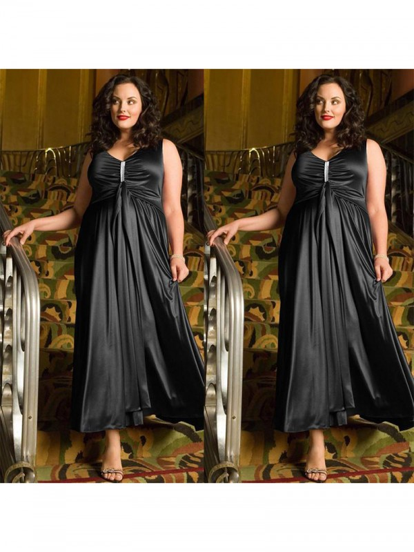 Touch of Texture Princess Style V-neck With Beading Ankle-Length Elastic Woven Satin Plus Size Dresses