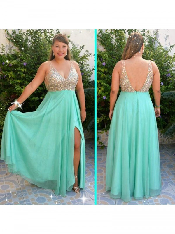 Treasured Reveries Princess Style V-neck With Beading Floor-Length Chiffon Plus Size Dresses