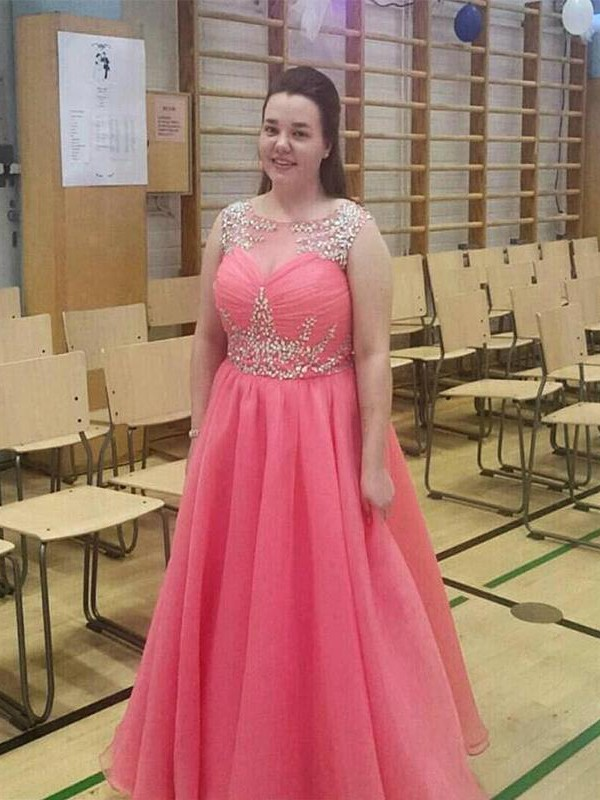 Fabulous Fit Princess Style Sheer Neck With Beading Floor-Length Chiffon Plus Size Dresses