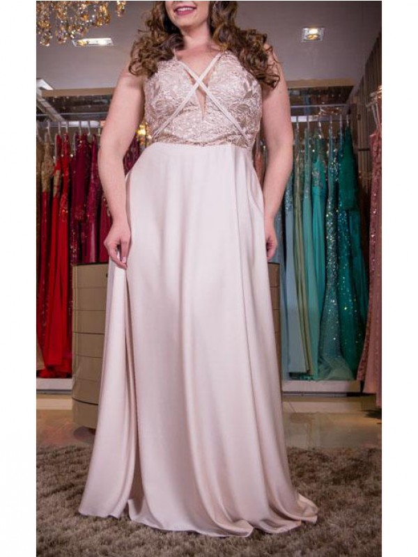 Beautiful You Princess Style V-neck With Applique Floor-Length Elastic Woven Satin Plus Size Dresses