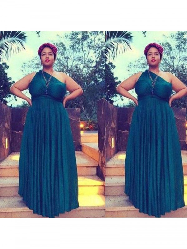 Time to Shine Princess Style One-Shoulder With Ruched Floor-Length Chiffon Plus Size Dresses