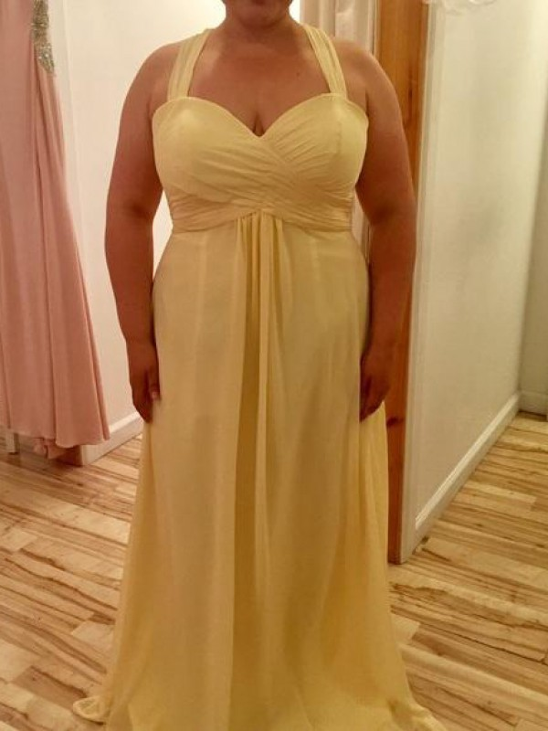 Too Much Fun Princess Style Halter With Ruched Floor-Length Chiffon Plus Size Dresses