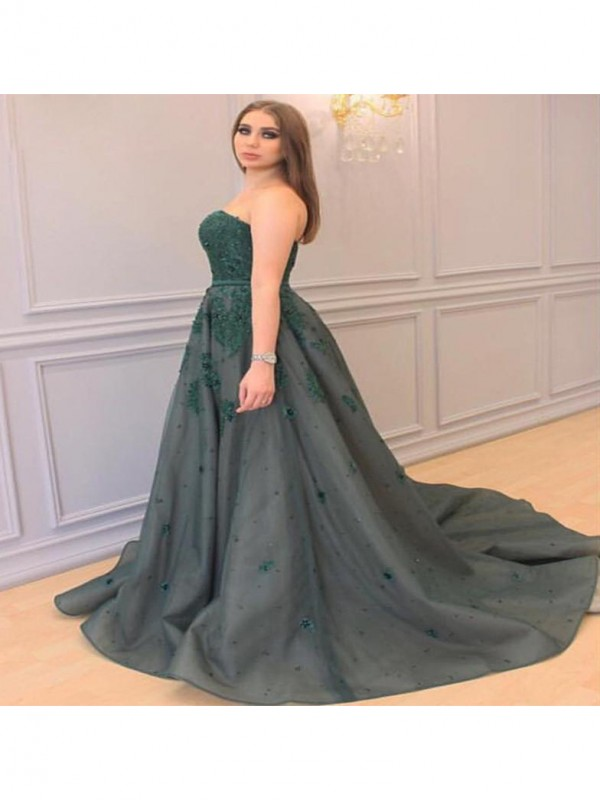Pleasant Emphasis Princess Style Sweetheart With Applique Court Train Tulle Plus Size Dresses