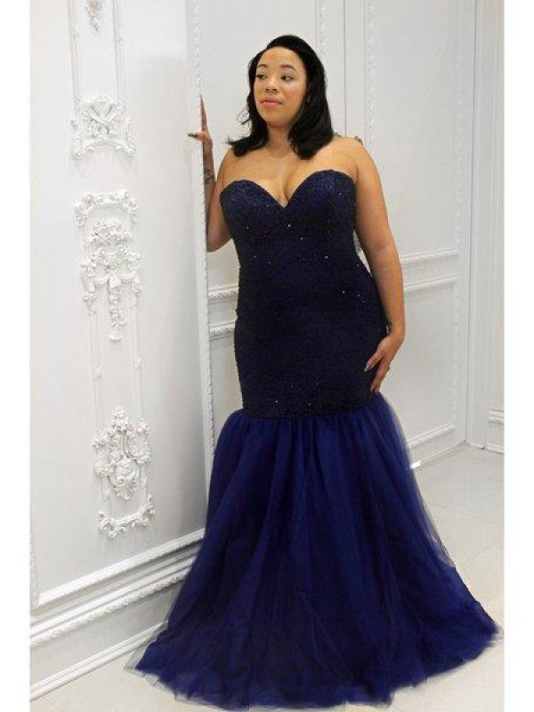 Treasured Reveries Mermaid Style Sweetheart Sequin Floor-Length Tulle Plus Size Dresses
