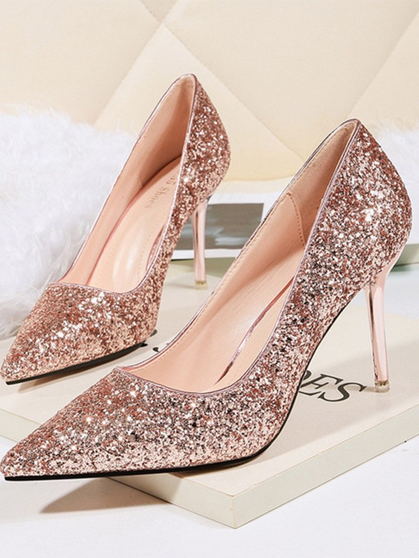 Women's Stiletto Heel Sparkling Glitter Closed Toe High Heels