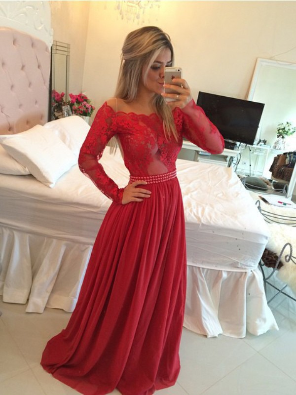 Open to Adoration Princess Style Off-the-Shoulder Chiffon Sweep/Brush Train Applique Dresses