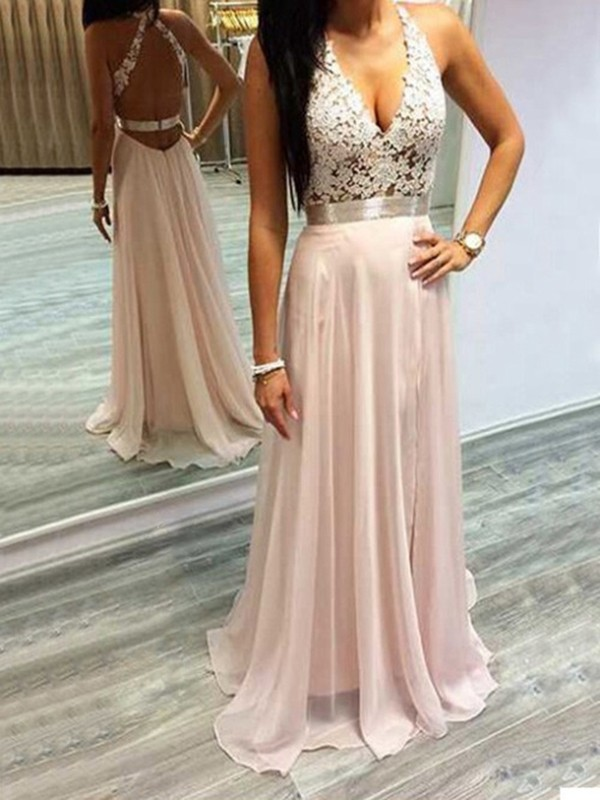 Dancing Queen Princess Style Halter Chiffon Lace Sweep/Brush Train Dresses