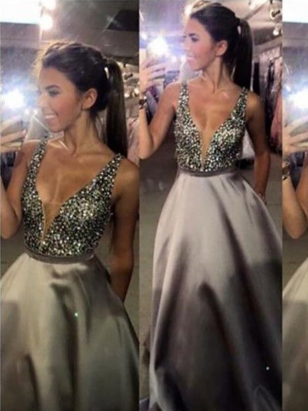 Lively Identity Princess Style V-Neck Sweep/Brush Train With Beading Satin Dresses