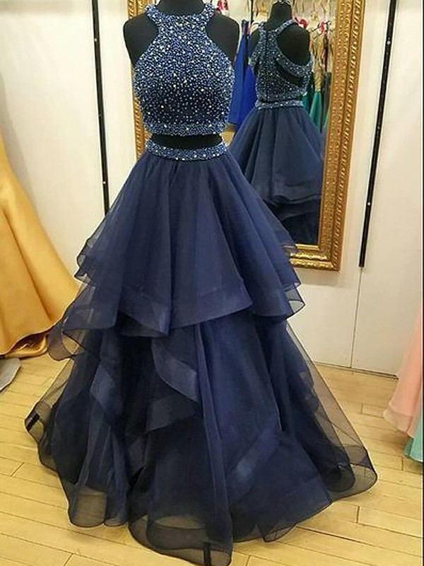 Yours Truly Princess Style Halter Tulle With Beading Floor-Length Two Piece Dresses