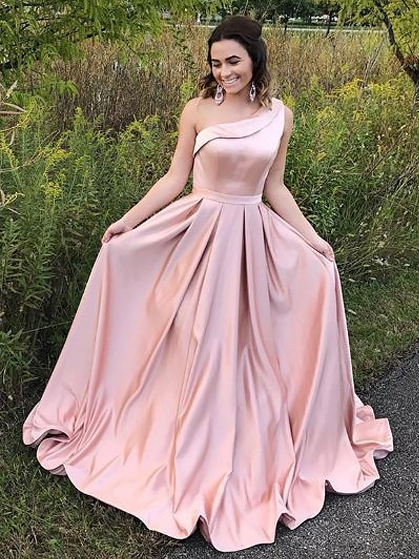 Just My Style Princess Style One-Shoulder Sweep/Brush Train With Ruffles Satin Dresses