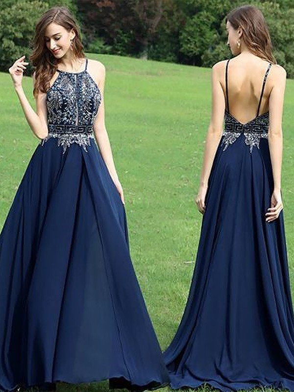 Romantic Vibes Princess Style Halter Chiffon With Beading Floor-Length Dresses