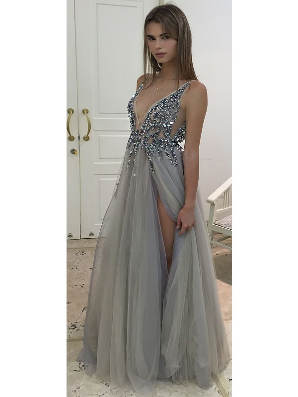 Naturally Chic Princess Style V-Neck Floor-Length With Beading Tulle Dresses