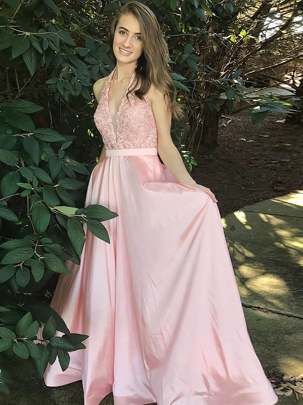 Automatic Classic Princess Style V-Neck Floor-Length With Lace Satin Dresses