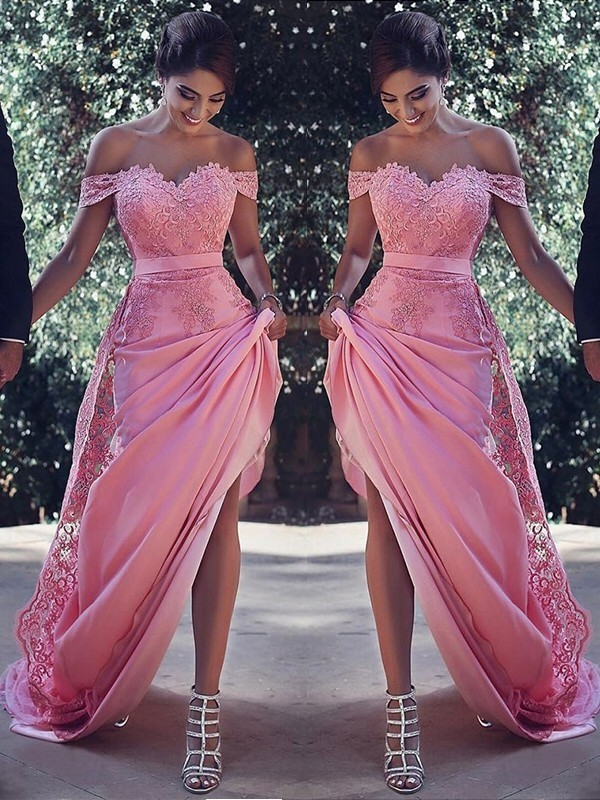 Pleasant Emphasis Sheath Style Off-the-Shoulder Sweep/Brush Train With Lace Silk like Satin Dresses