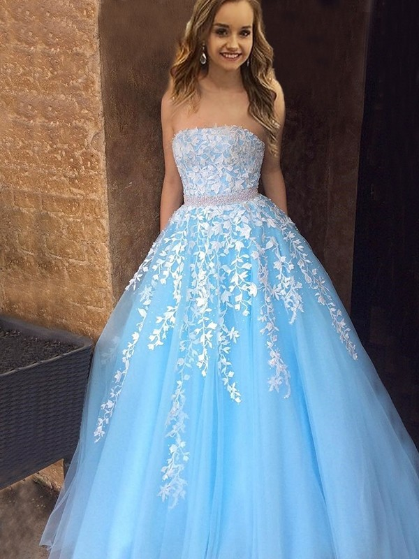 Easily Adored Princess Style Strapless Floor-Length With Applique Tulle Dresses