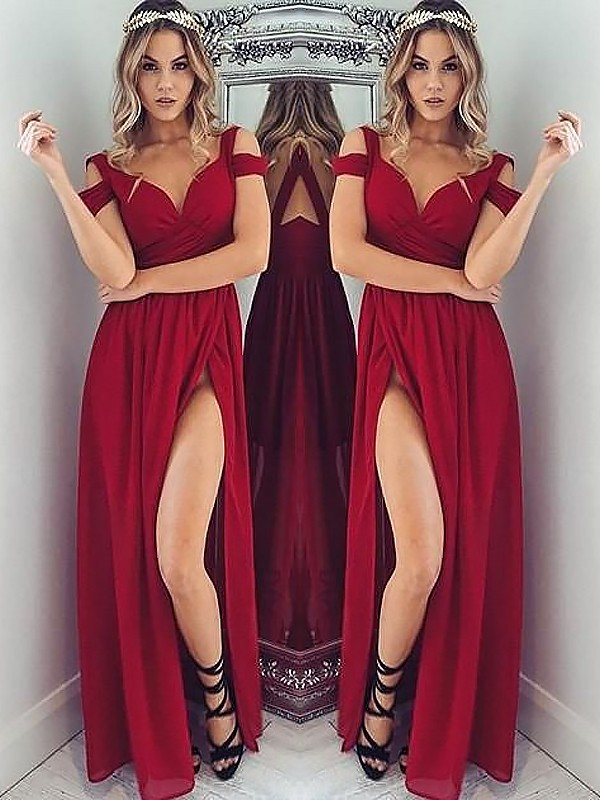 Befits Your Brilliance Princess Style Off-the-Shoulder Floor-Length With Ruched Chiffon Dresses
