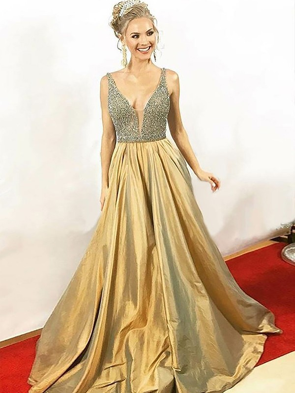 Too Much Fun Princess Style V-neck Floor-Length With Beading Taffeta Dresses
