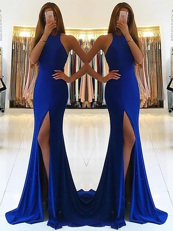 Limitless Looks Sheath Style Halter Sweep/Brush Train With Ruffles Elastic Woven Satin Dresses