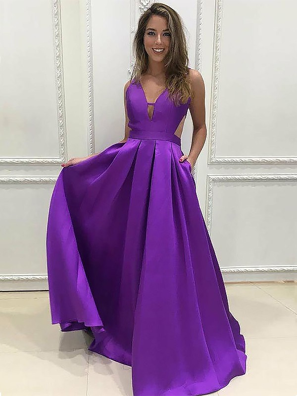 Cheerful Spirit Princess Style V-neck Sweep/Brush Train With Ruffles Satin Dresses