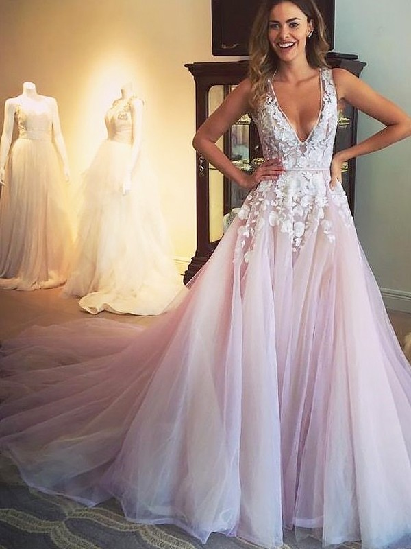 Savor the Occasion Princess Style V-neck Sweep/Brush Train Tulle With Applique Dresses