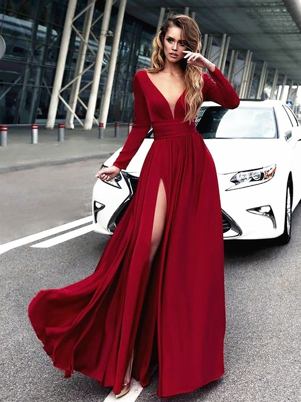 Time to Shine Princess Style V-neck Floor-Length Satin With Ruffles Dresses