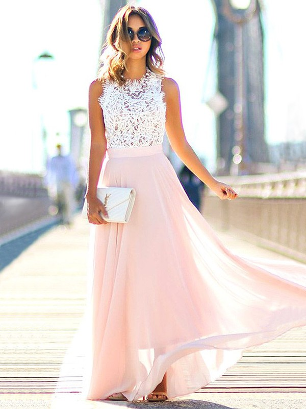 Sweet Sensation Princess Style Jewel Floor-Length With Lace Chiffon Dresses