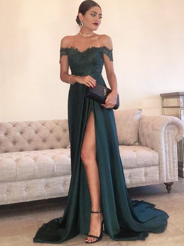 Styled to Smile Princess Style Off-the-Shoulder Sweep/Brush Train With Lace Satin Dresses